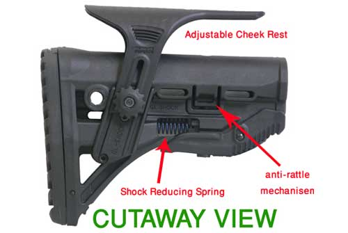 Shock Absorbing Collapsible Butt Stock for M16/AR15  w/ Adjustable Cheek Piece 1